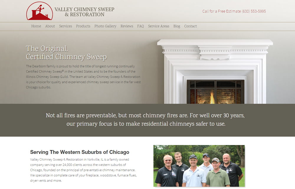 Valley Chimney Sweep & Restoration Website