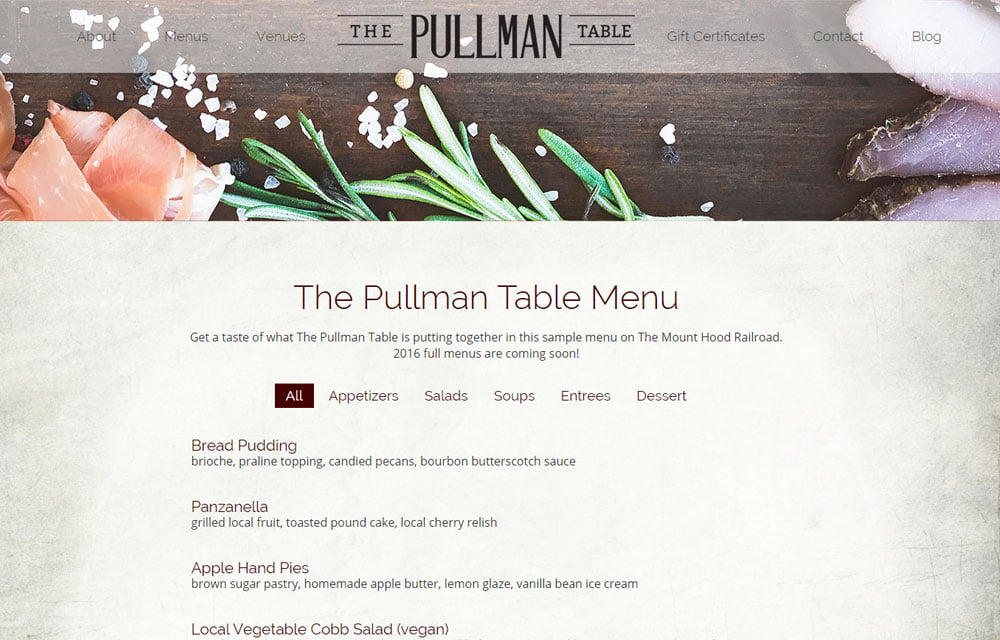 The Pullman Table Website