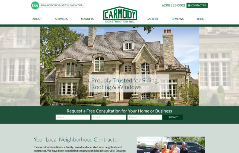 carmody construction new website