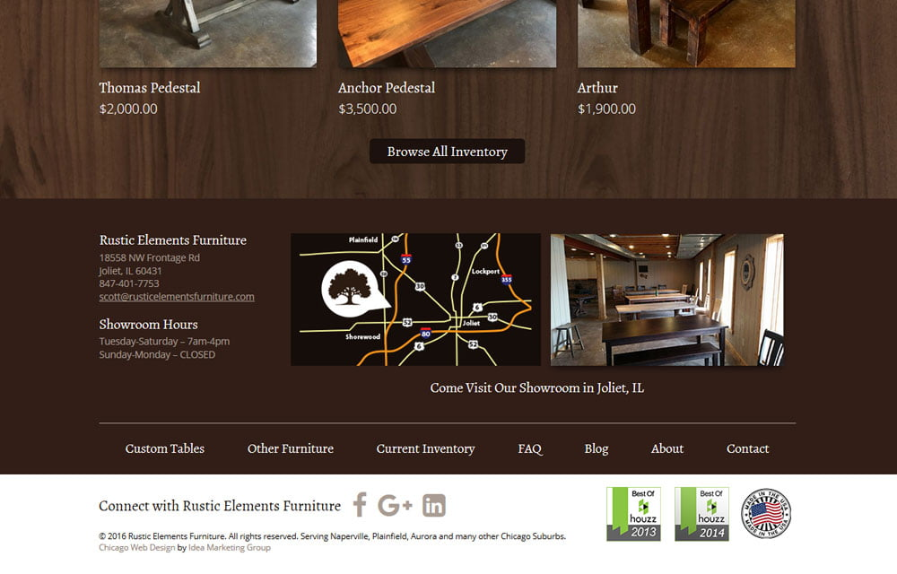 Rustic Elements Furniture Website