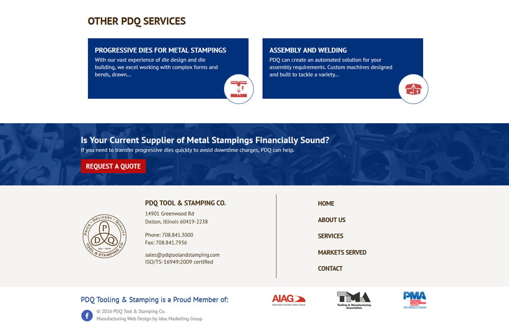 PDQ Tool & Stamping Website