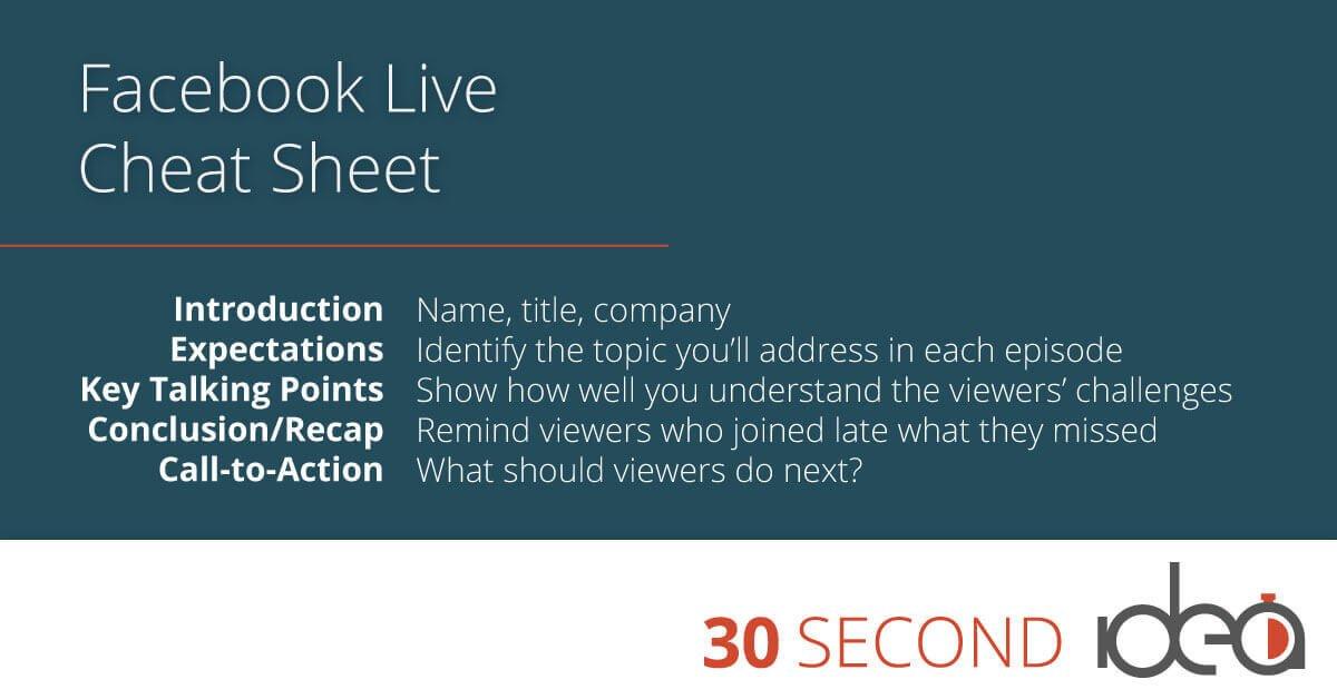 facebook live cheat sheet 1